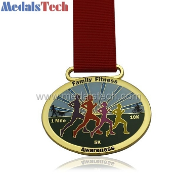Oval shape unique beautiful hard enamel running medals with glitter finish