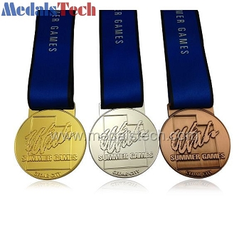 Die cast znic alloy cheap game medals with sublimated ribbon