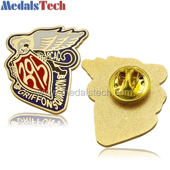 Gold plated die struck iron lapel pin